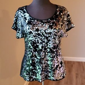 EXPRESS Sequin Short-Sleeve Scoop Neck Top